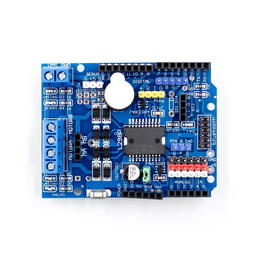 L298P PWM Speed Controller Dual High-Power H-bridge Driver ,Bluetooth Interface, L298P Motor Shield Board for Arduino