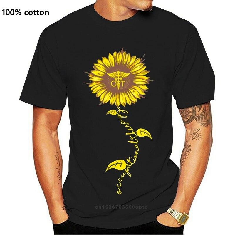 Impressão Girassol de Terapia Ocupacional, Enfermeira Kawaii Girassol Camisa de T Para Homens Roupa Preta Dos Homens T Hip Hop