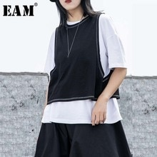 [EAM] Women White Black Split Joint Big Size T-shirt New Round Neck Half Sleeve  Fashion Tide  Spring Summer 2020 1W257