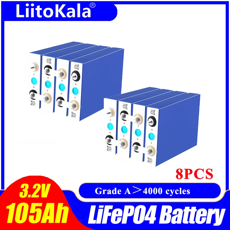 8 قطعة LiitoKala 3.2 فولت 105Ah wg LiFePO4 Batteryhigh استنزاف لتقوم بها بنفسك 12 فولت 24 فولت الشمسية العاكس مركبة كهربية c oach عربة جولف