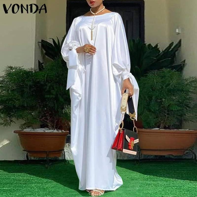 aliexpress.com - Elegant Kaftan Dress Women Satin Party Dress 2021 VONDA Bohemian Holiday Summer Sundress Female Casual Vestidos  Robe
