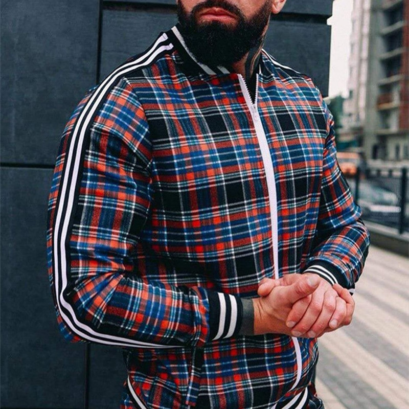 Man High Street Clothing Plaid Men Jackets Casual top Zipper Jacket Sports Wear quality Sweatshirt Fashion Fast Delivery