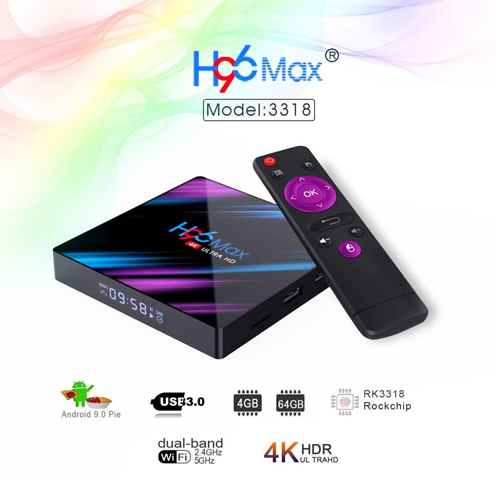 H96 Max Smart Android 9.0 TV Box RK3318 Quad Core 64 Bit UHD 4K VP9 H.265 4GB / 64GB 2.4G / 5G WiFi BT4.0 HD Media Player