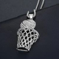 new trendy bohemian crystal inlaid pendant basketball basketball frame rhinestone inlaid necklace pendant accessories jewelry