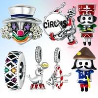 circus series jewelry drum clown seal lion flag charm beads fashion bracelet pendant bijoux 925 sterling silver