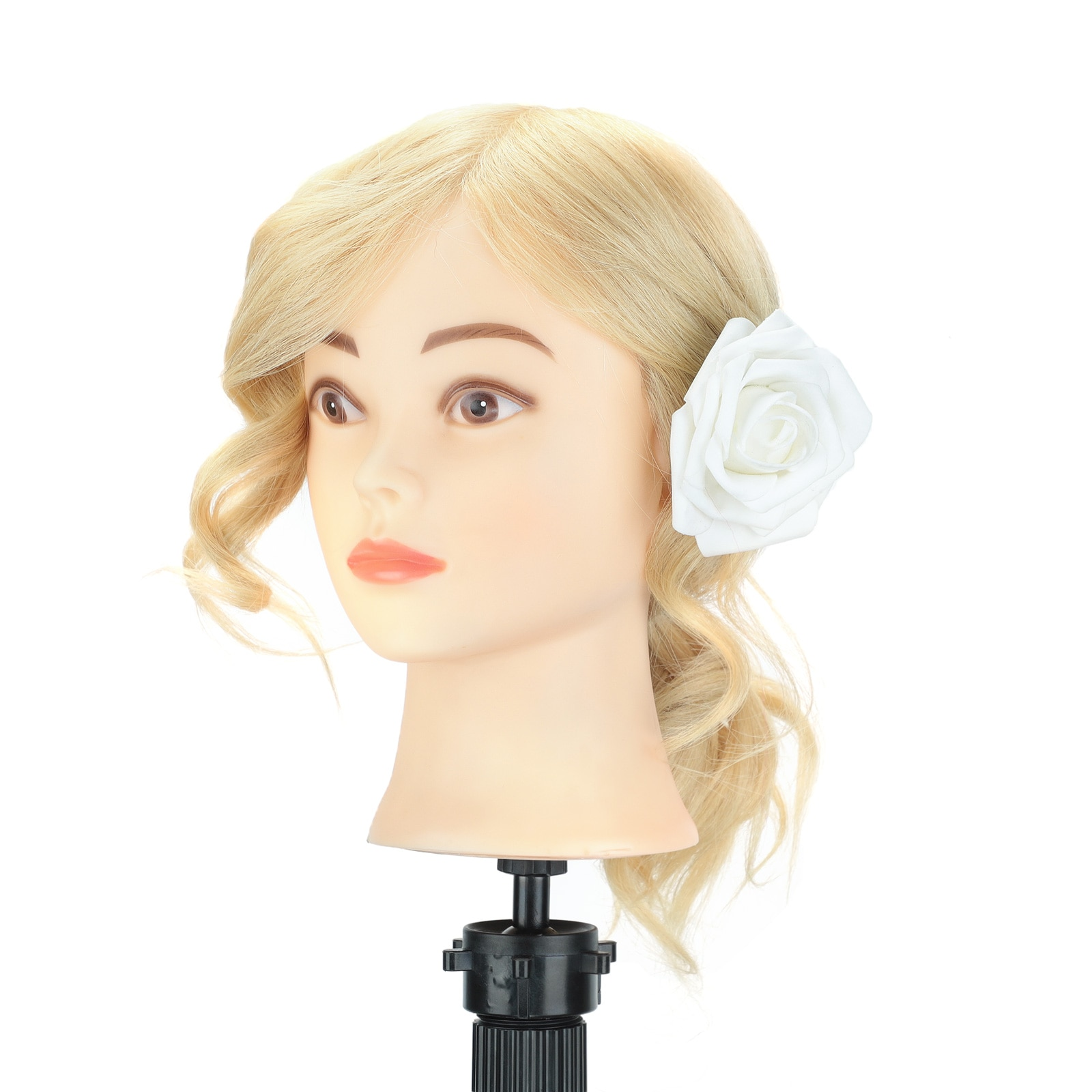 100% Real Human Hair Mannequin Head Hairdressing   for Hairstyles Hairdressers Curling Practice Training Head with Clamp