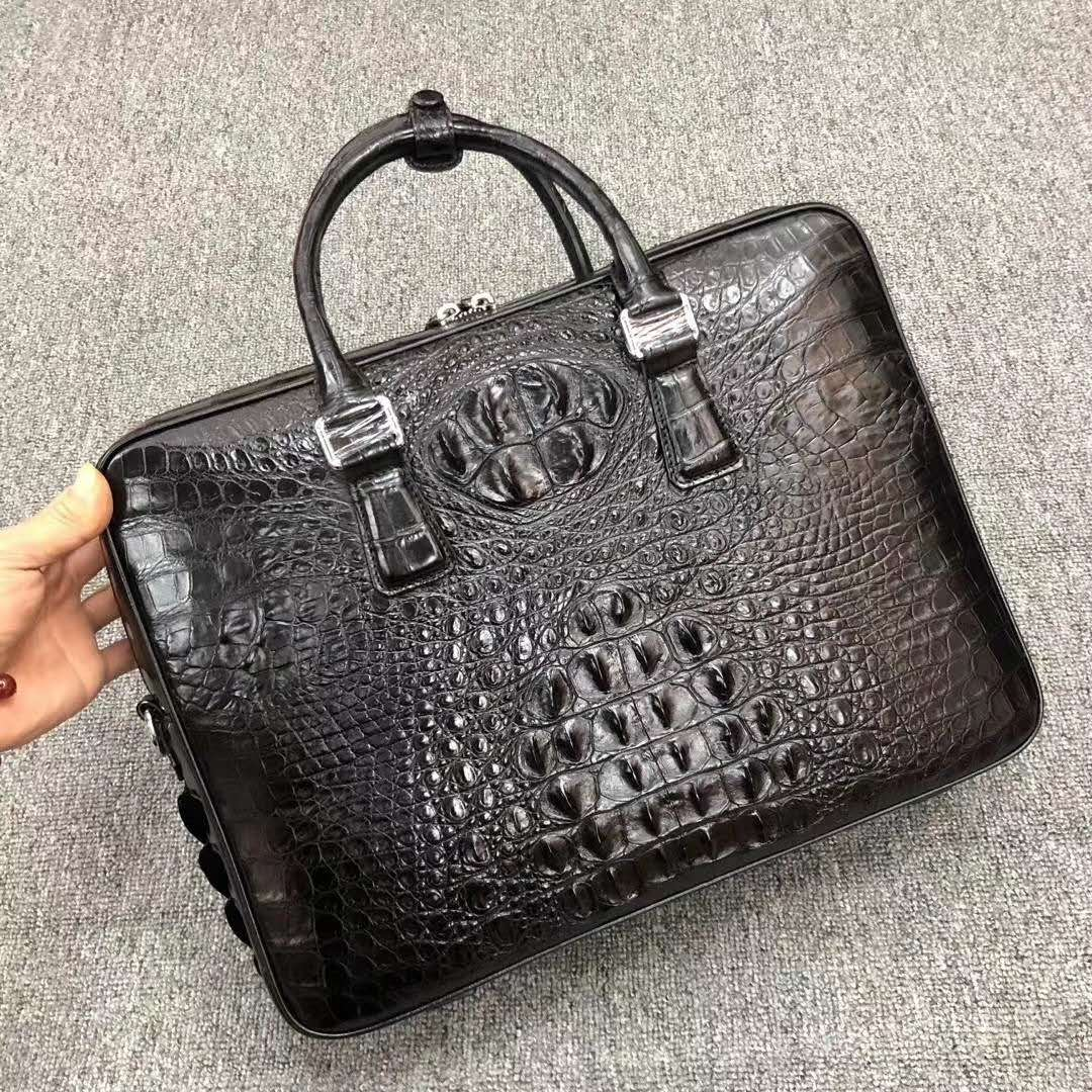 2020 SS Genuine Leather mens briefcase bags Luxury Double zipper Crocodile handbags men fashion laptop