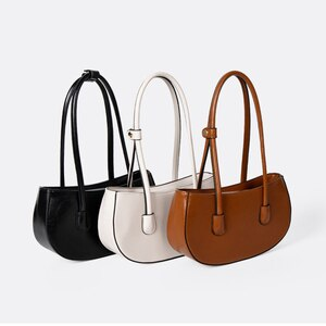 Vintage Women's Shoulder Bag Waterproof Solid PU Leather Bag Ladies Handbag Messenger Bag for Female Underarm Bags