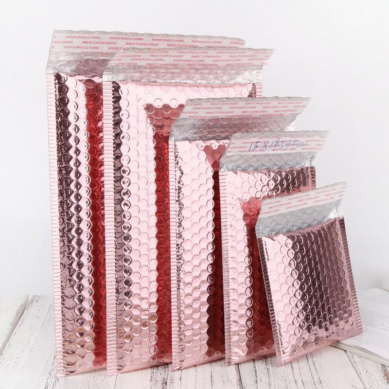 Sobres metálicos acolchados, sobres de plástico con burbujas, color holográfico rosa dorado y rosa para pestañas, bolsa de envío de maquillaje de belleza