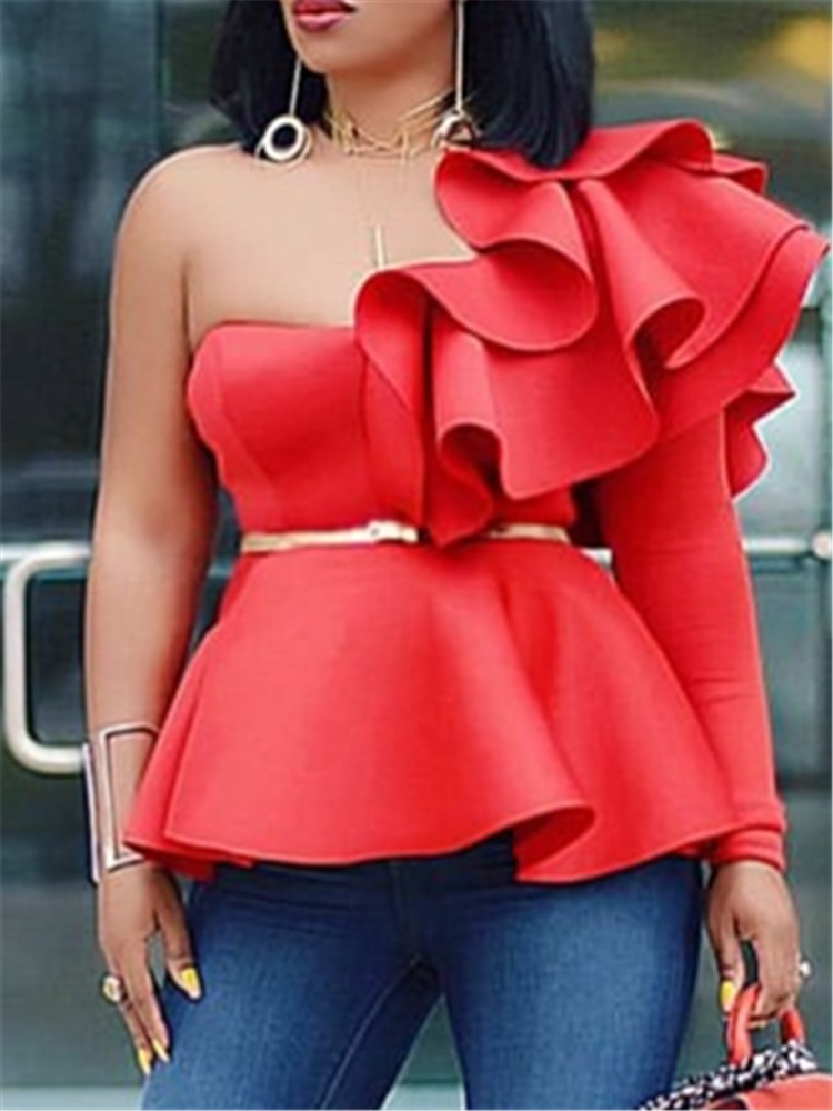 Women Blouse Tops Shirts One Shoulder Sexy Peplum Ruffles Slim Party Wear 2021 Summer New Fashion Elegant Ladies White Red Bluas