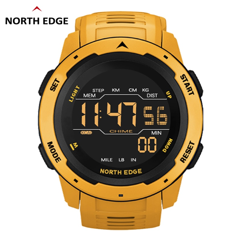 NORTH EDGE Men Digital Watch Mens Sports Watches Dual Time Pedometer Alarm Clock Waterproof 50M Military