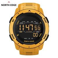 Часы NORTH EDGE мужские цифровые, спортивные цифровые в стиле милитари, с двойным временем, шагомером и будильником, водонепроницаемость 50 м