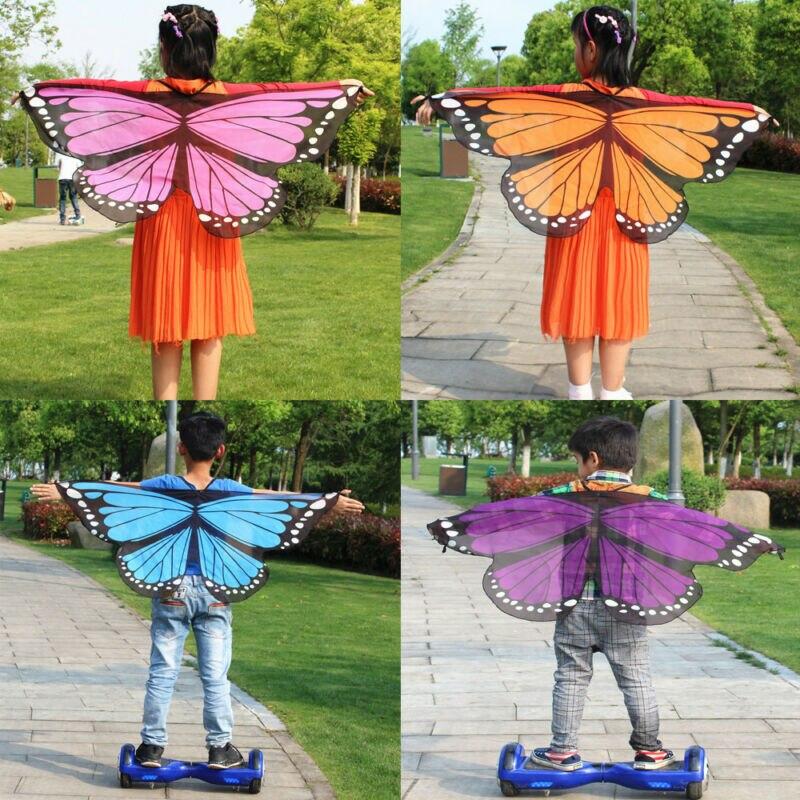 Fada borboleta asas fantasiar-se traje fingir jogar meninas meninos beachwear xale presente