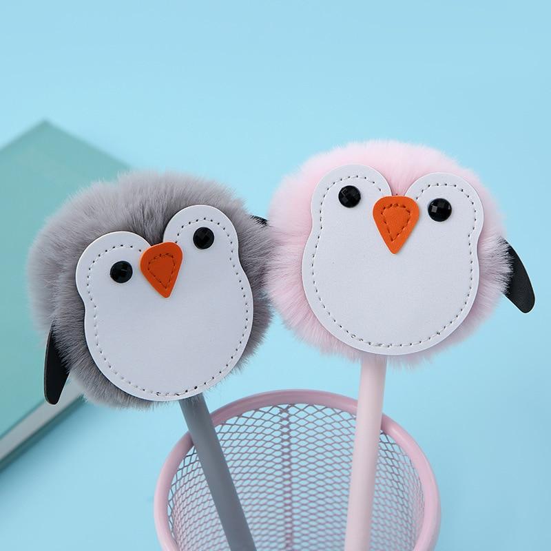 Lindo colorido de peluche pingüino Gelpen corazón de la muchacha creativa pequeña pluma de agua Animal de dibujos animados firma Oficina escuela papelería