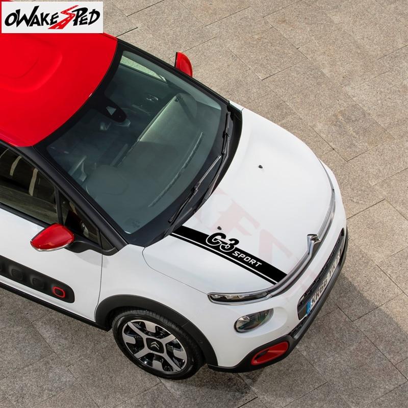 1 Juego de pegatinas decorativas para capó de coche, pegatinas de vinilo con diseño de rayas para la cubierta del motor del coche-pegatinas de accesorios Citroen C3