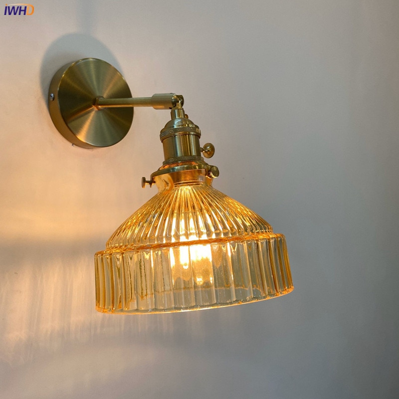 IWHD العنبر الزجاج وحدة إضاءة LED جداريّة تركيبات إضاءة التبديل على/قبالة بجانب مصباح غرفة نوم مقهى درج الشمال الحديثة الجدار الشمعدان زين Murale