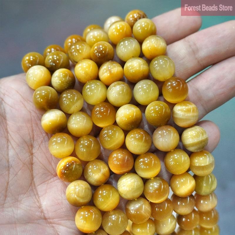 Or lisse oeil de tigre Agates pierre naturelle perles rondes bricolage Bracelet à breloques collier pour la fabrication de bijoux 15