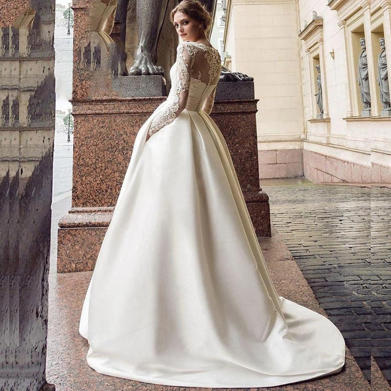 Review Elegant Wedding Dress Matte Satin With Train O-neck Full Sleeve In Bride Gowns Button Appliques With Plus Size З Улікам