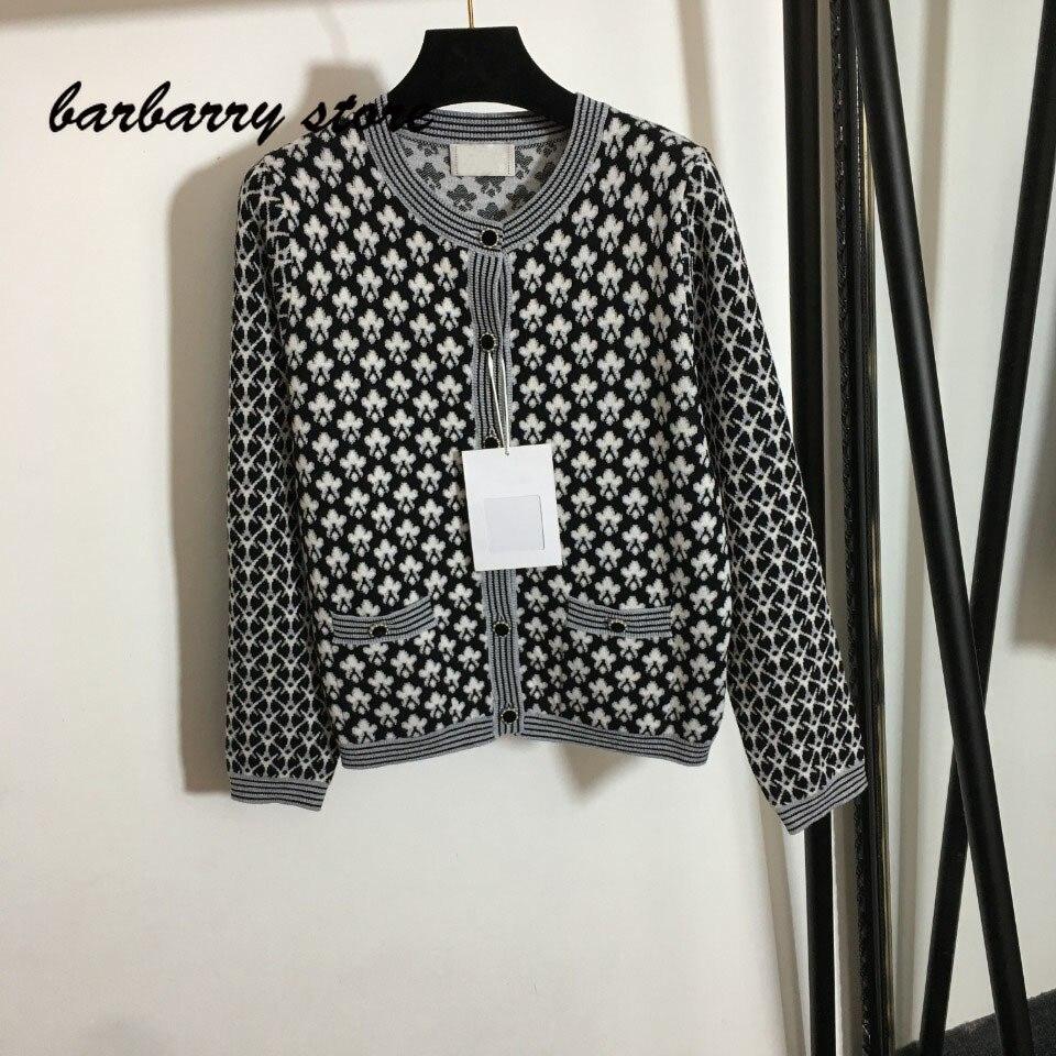 2021 luxury design high-end cotton flower pattern fashion long sleeve cardigan top temperament versatile women's knitted coat enlarge