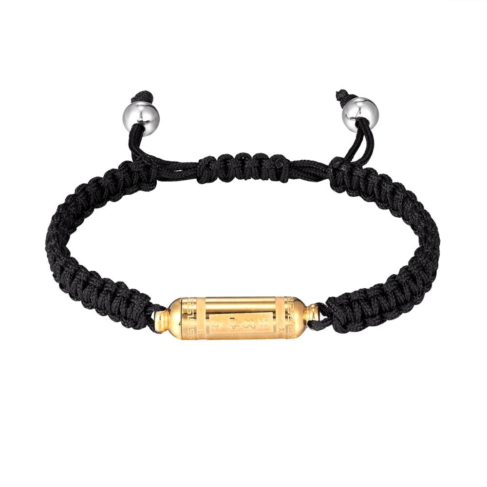 New Fashion Stainless Steel Safe Smooth Bacelet for Women Men screwable Black Rope Braided Bracelet