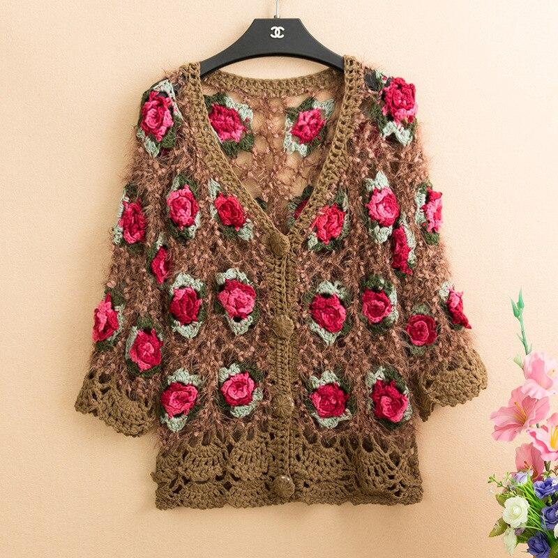 Cárdigans 3D de flores para mujer, mohair, chaquetas de ganchillo para mujer, jerséis de flores rosas, tops tejidos