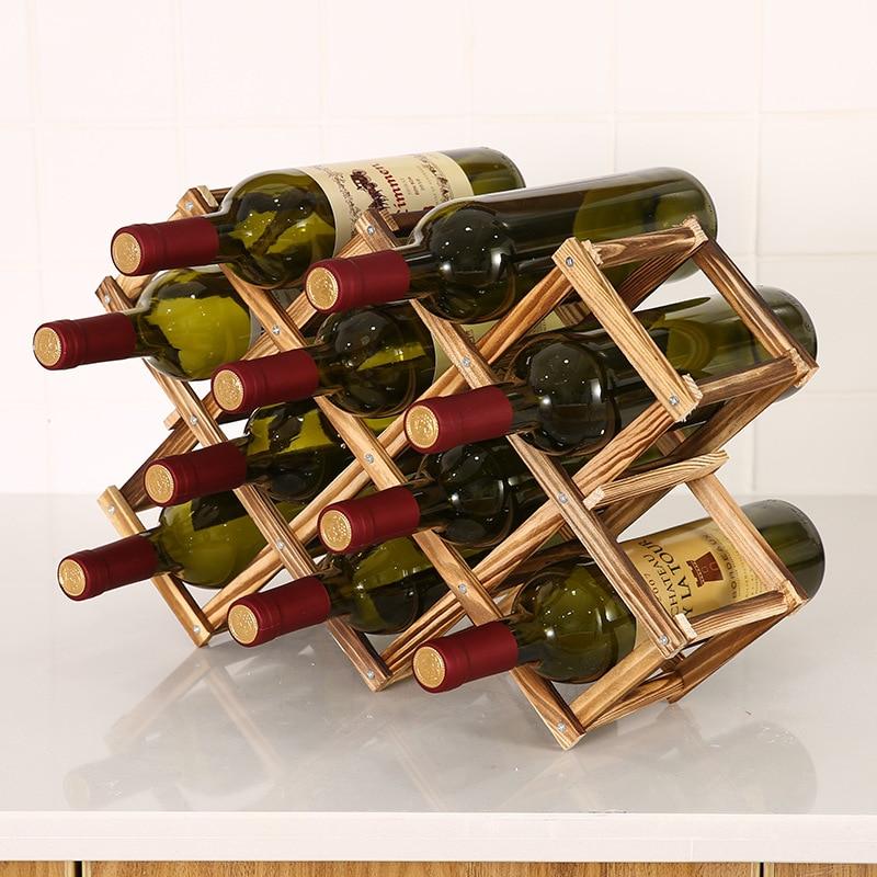 Collapsible Wooden Wine racks bottle cabinet stand Holders wood shelf organizer storage  for retro  display cabinet недорого