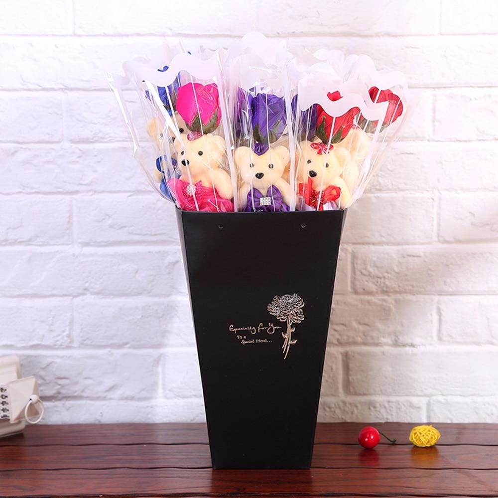 Романтическое художественно оформленное мыло розы с милый Мишка Тедди подарок на день рождения цветочный букет ароматизированный подарок на день Святого Валентина