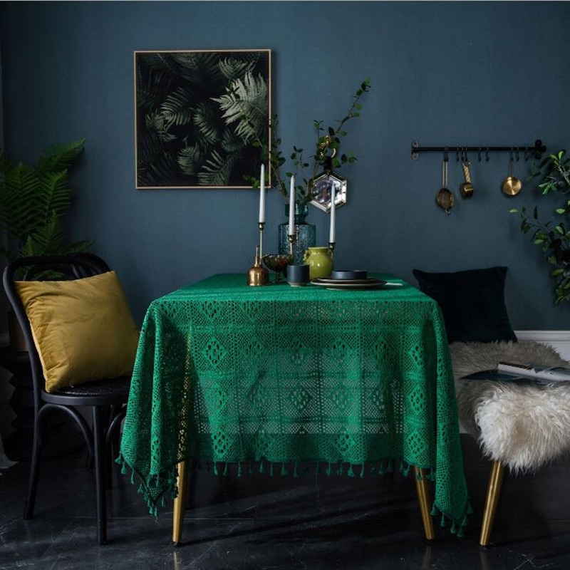 Retro verde oscuro hecho a mano ganchillo mantel algodón tejido hueco mesas de café cubierta tela Fondo decoración paños