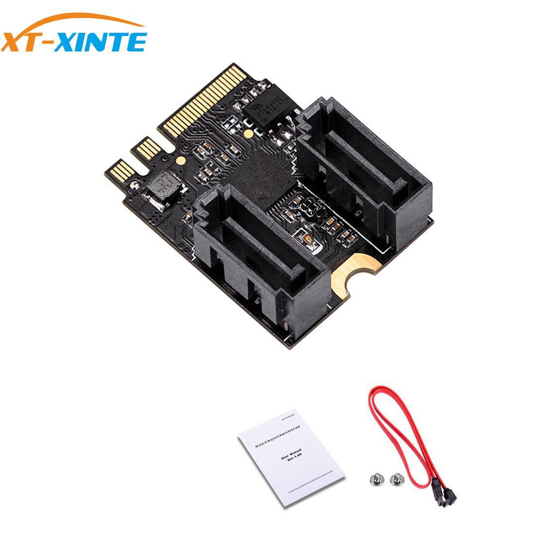 سائق مجانا محول بطاقة ل M.2 ل Ngff إلى Sata3 A-مفتاح + E-مفتاح إلى 2 منافذ SATA 6Gbp/s بكيي 3.0 حافلة ل Wifi SSD HDD PC