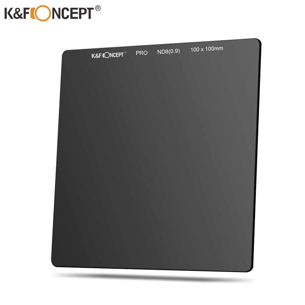 K & F Concept-زجاج بصري 100 × 100 مللي متر ND8 (0.9/3) ، كثافة محايدة ، مرشح مربع رمادي ، طلاء مقاوم للماء ، مضاد للانعكاس