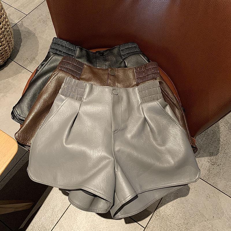 عالية الجودة 2021 بولي Leather جلد الحريم السراويل النساء سراويل قصيرة الشتاء البني للفتيات مثير التمهيد موضة عالية الخصر الربيع الإناث