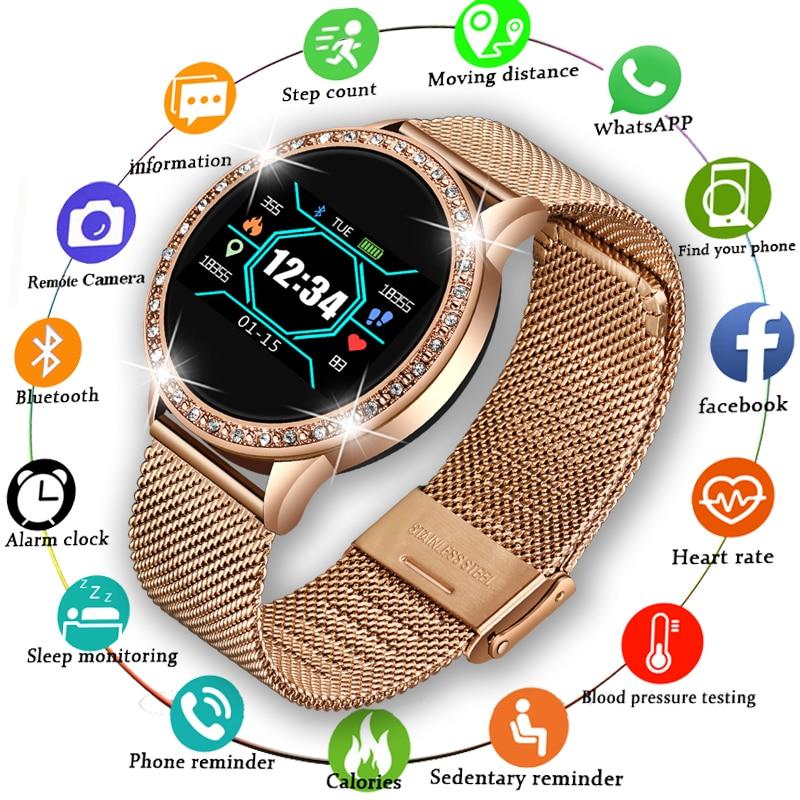 LIGE 2020 جديد ساعة ذكية النساء الرجال معدل ضربات القلب ضغط الدم الرياضة متعددة الوظائف ساعة تعقب اللياقة البدنية موضة smartwatch + صندوق