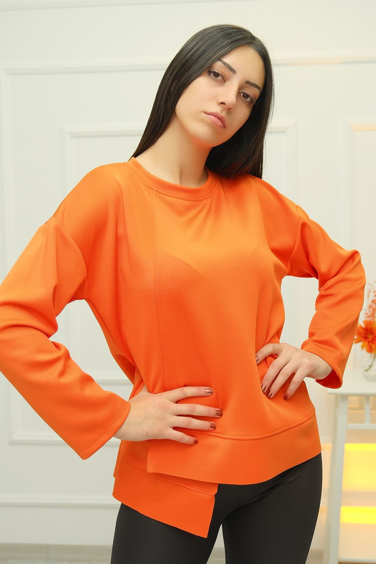 Scuba Asymmetrical Sweat Orange-4205.212. openwork asymmetrical sweater