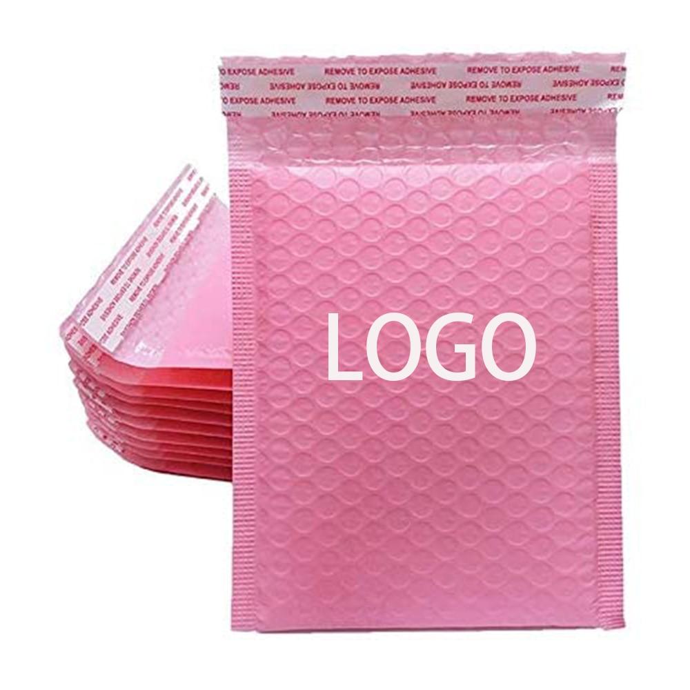50 PCS Bulk Custom LOGO Printed Biodegradable Shipping Bag Light Pink Bubble Mailer Courier Packaging Padded Envelope