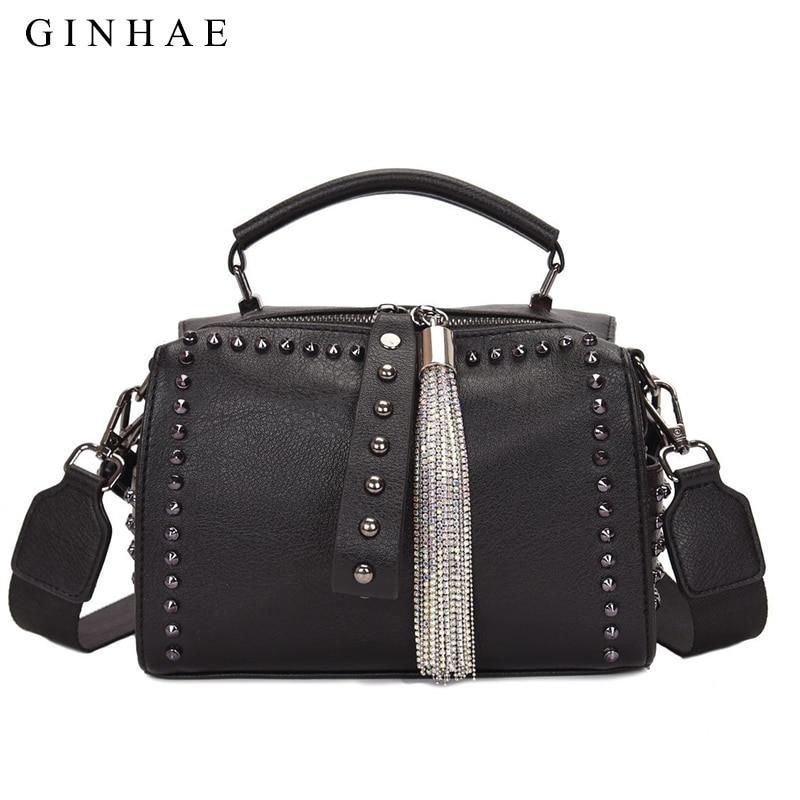 luxury women genuine leather handbags fashion rivet cow leather messenger shoulder bags bolsas feminina designer phone bag Diamonds Women Shoulder Bag Luxury Pu Leather Women Tote Handbags 2021 Brand Designer Small Messenger Bags Rivets Bolsa Feminina
