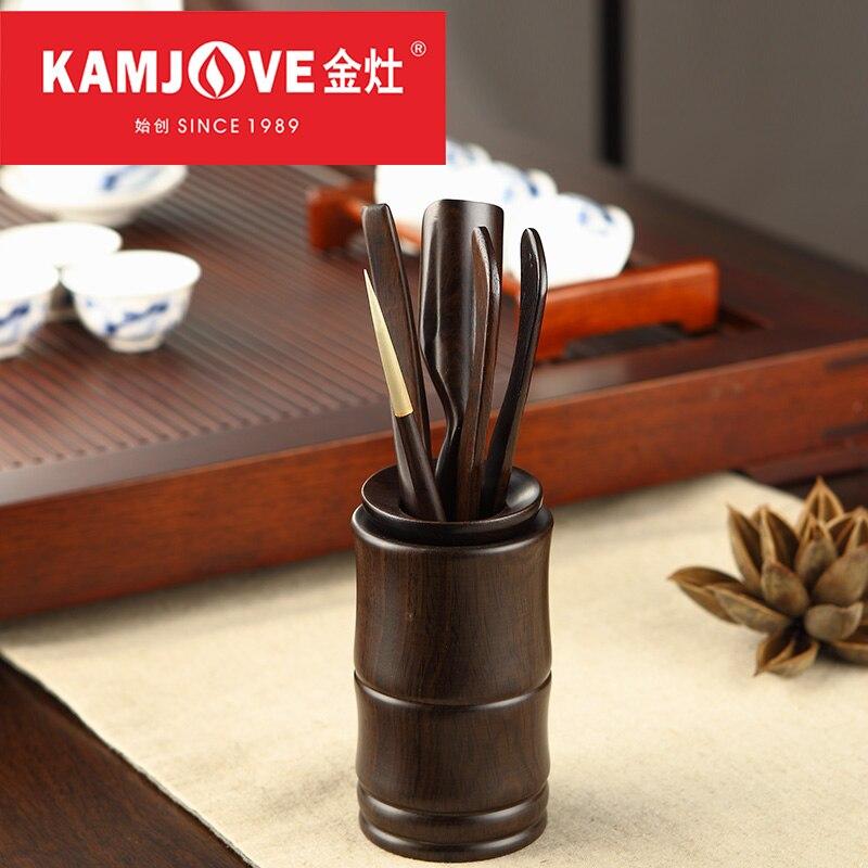 Kamjove-طقم شاي صيني من خشب الأبنوس ، إكسسوارات شاي الكونغ فو ، أواني حفلات ، 6 قطع