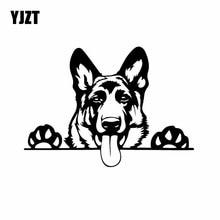 YJZT autocollant de voiture Animal Animal   Étiquette de chien berger allemand, drôle, Art moderne, YJZT noir/argent