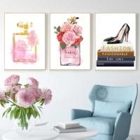 Peinture sur toile avec parfum de Paris  aquarelle  mode  Vogue  maquillage  Art mural  affiche nordique et photo imprimee  decor de maison  tableau