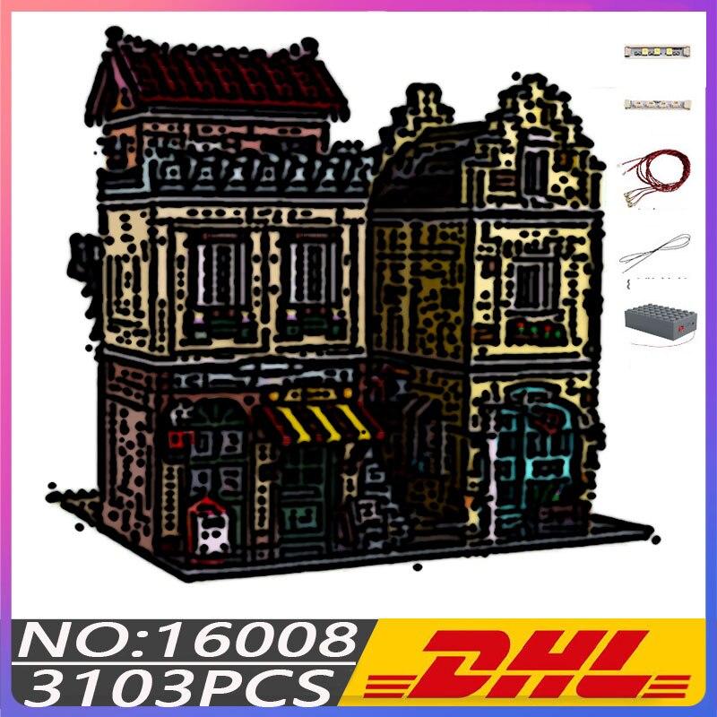MK16008 уличные строительные игрушки MOC, модель кофейного домика, строительные блоки, сборные кирпичи, Обучающие Детские Рождественские подарк...