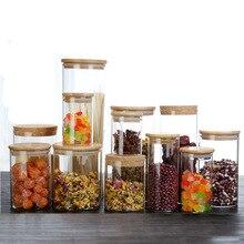 Multi specyfikacja szklane butelki do przechowywania słoiki z bambusowa pokrywka herbata kawa fasola słoik na cukierki szklane pudełko pojemnik kuchnia może