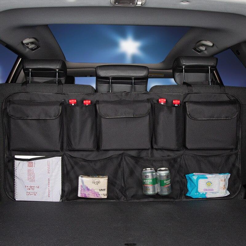 Trasero para asiento trasero de coche organizador de red para maletero de malla de almacenamiento de bolsa de cubierta de guardar orden Interior accesorios para Camping