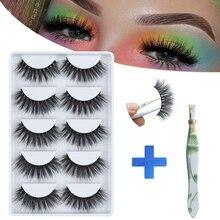 MB 5 paires 3D Faux cils moelleux Cils maquillage naturel Faux cils à la main Extensions de Cils épais longs cils de vison