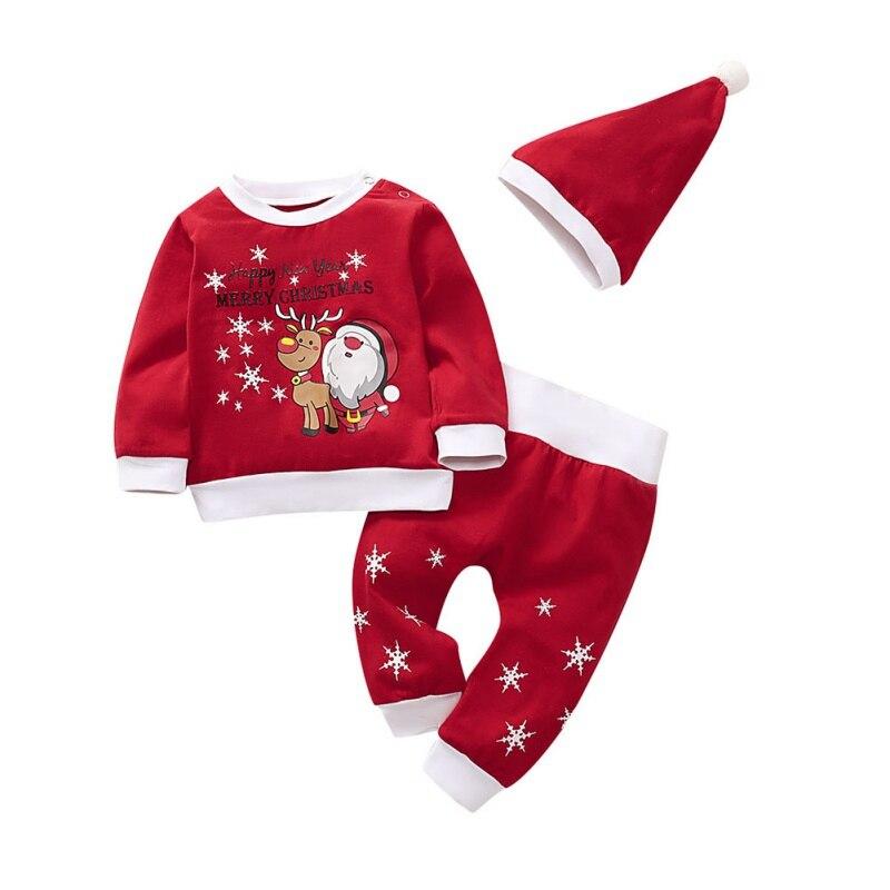 Zestawy dla niemowląt dziewczynka chłopiec z długim rękawem jesień świąteczne topy + spodnie na co dzień + kapelusz nadruk kreskówkowy bluzka kostium 3 sztuk/zestaw zestaw ubrań
