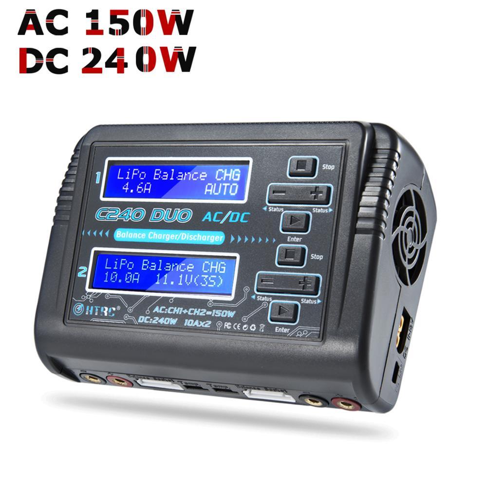 LiPo зарядное устройство HTRC C240 двухканальный AC 150W DC 240W 10A 1-6S для Li-Ion LiFe NiCd NiMH LiHV PB Smart Battery Discharger