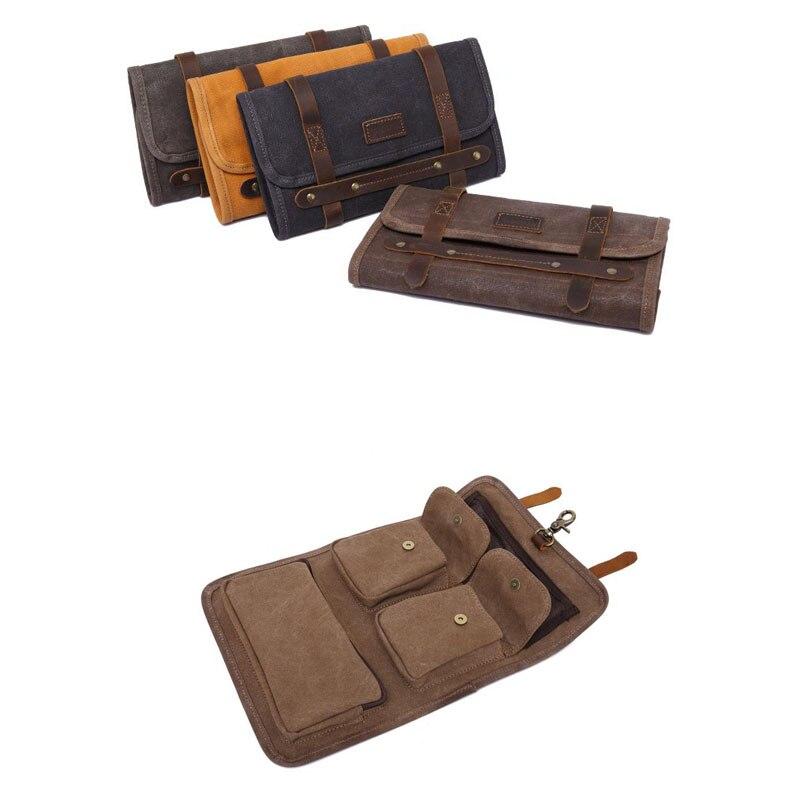 مجموعة أدوات قماش الشمع المقاومة للماء للرجال ، مجموعة أدوات خمر ، صلبة ، متعددة الوظائف ، حقيبة يد نهارية للرجال ، محفظة ريترو قابلة للطي