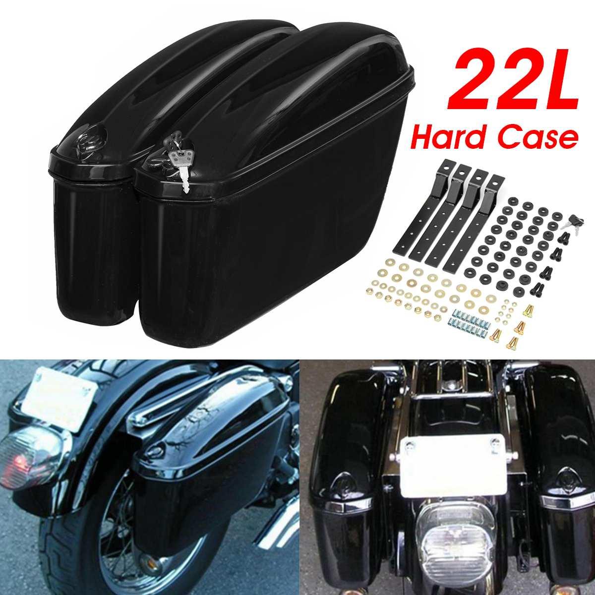 Par Universal 22L de alforjas lado duro maletero caso, herramienta de almacenamiento de equipaje maleta para Honda/Yamaha/Suzuki