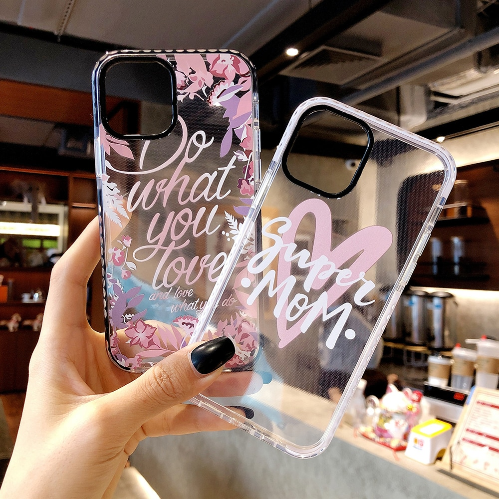 Flower Transparent Pink Phone Case For iPhone 11 12 Pro Max XR X XS 7 8 Plus Love Heart iPhone 11 SE