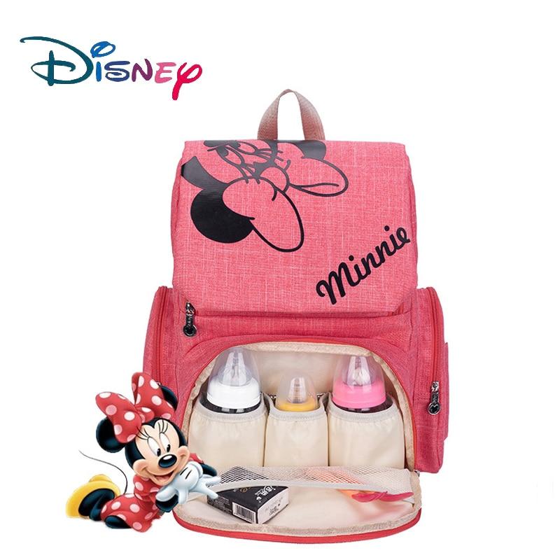 Disney Mickey Minnie bebé bolsas de pañales Bolso de la madre cochecito pañal mochila de bolsa de mamá