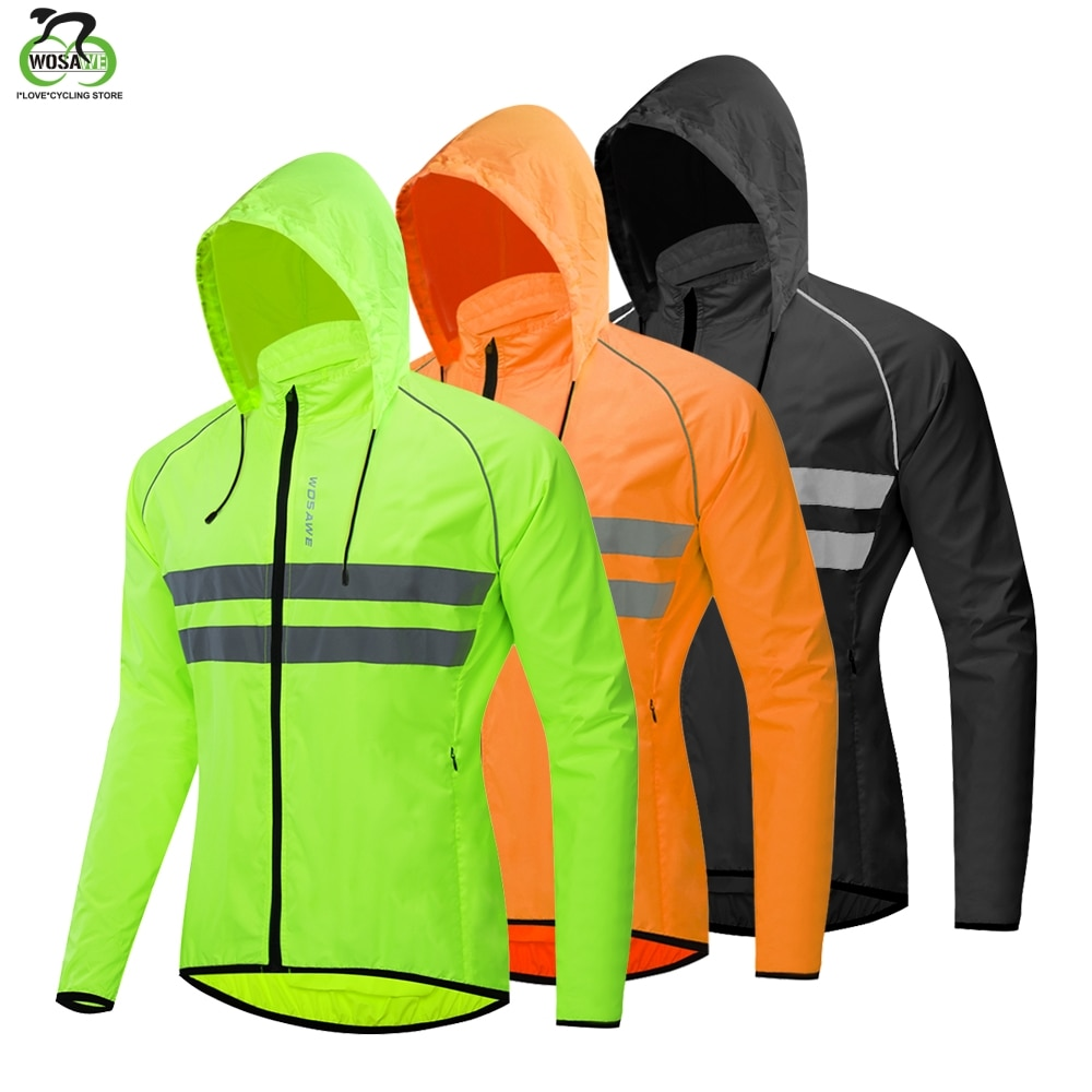 WOSAWE, gorros con capucha finos, chaquetas reflectantes para correr, resistente al viento, repelente de agua de lluvia, cazadora para ciclismo, abrigo, chaquetas de Deportes de bicicleta