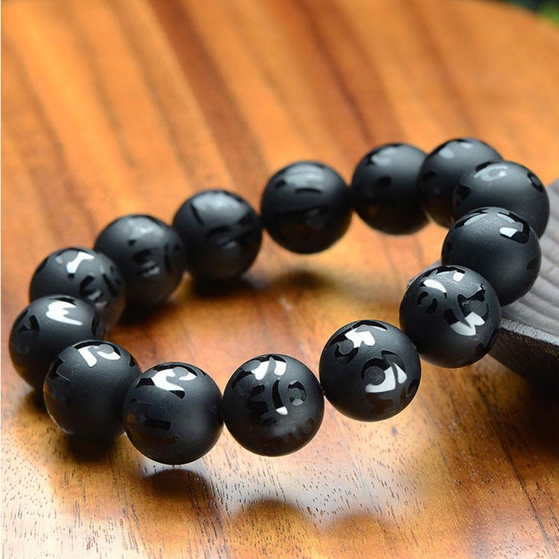 8-18mm Tibetan Buddhist Prayer Buddha Black Agates Beads Bracelets Women Men Jewelry Carved Om mani padme hum Elastic Bangles